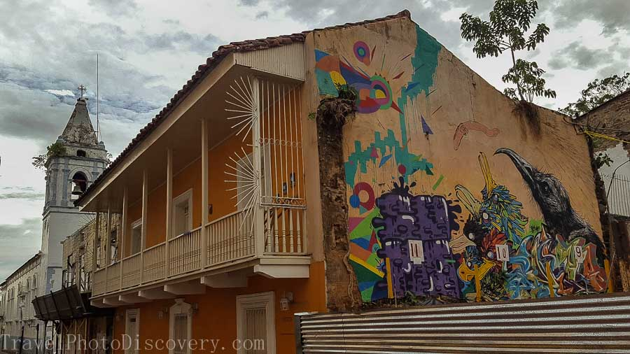 Street art walking around the historic district in Casco Viejo