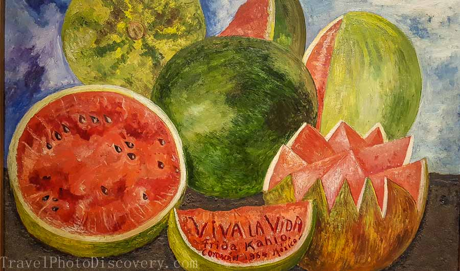 Frida's famous watermelon painting Frida Kahlo Museum in Mexico City