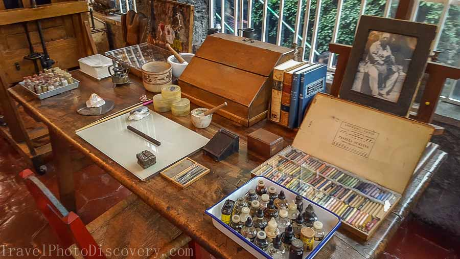 Frida Kahlo's painting studio and displays at Casa Azul in Mexico City