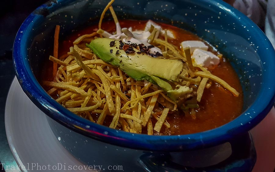 Sampling a Mexican tortilla soup at Garialdi Square