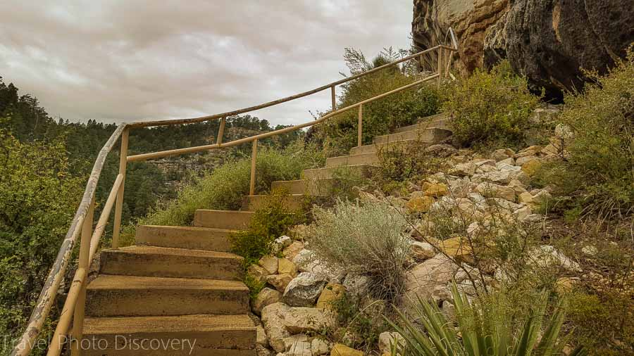 Stair climb down to the cliff dwellings at Walnut Canyon National Monument