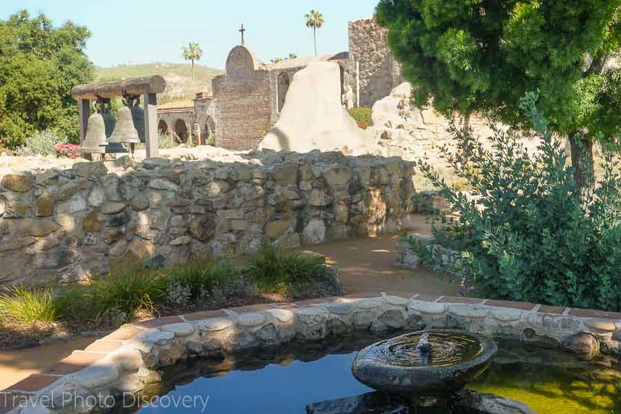 San Juan Capistrano ruins and fountain in California
