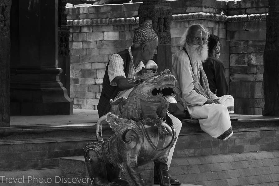 Bhaktapur street scene Nepal photography in black and white