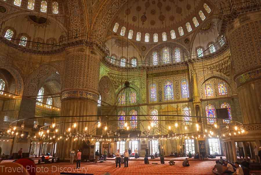 The Blue Mosque interior hall at Sultanhamet Istanbul