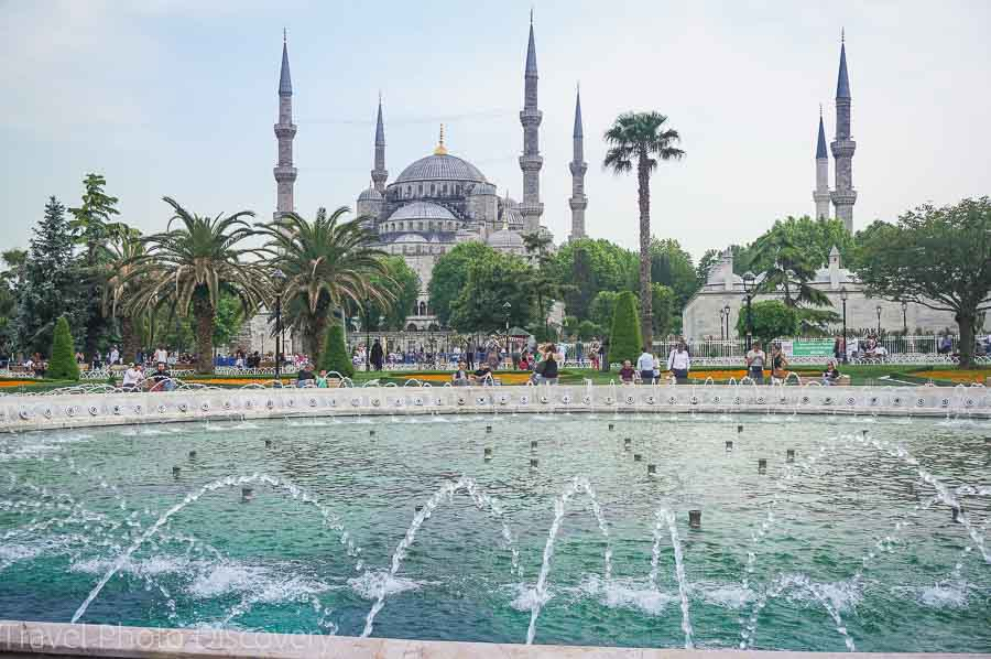 Fountains fronting the Blue Mosque in Sultanhamet, Istanbul