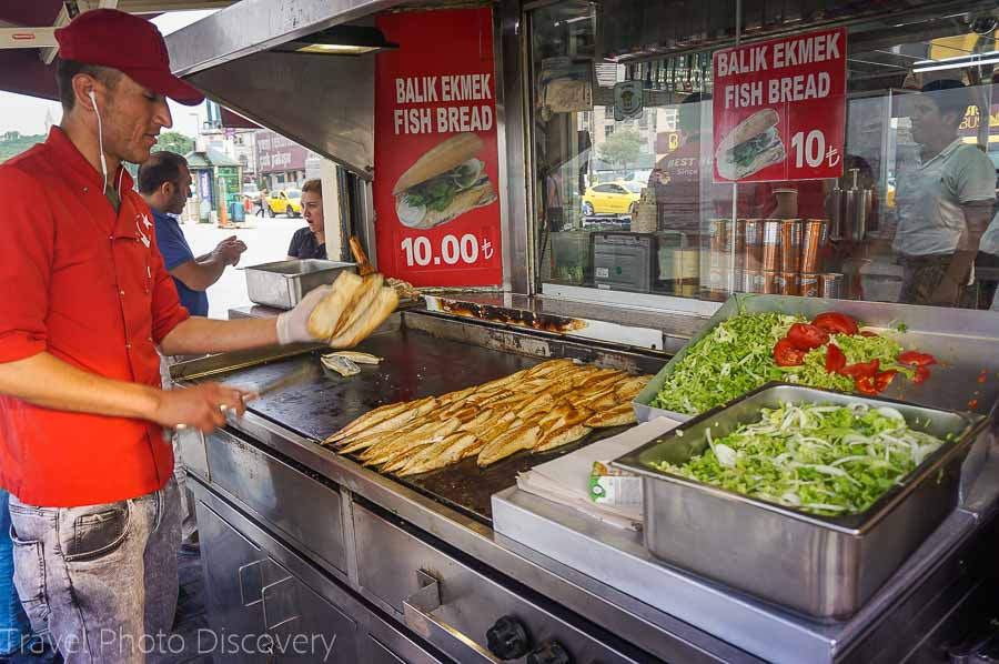 Street vendor selling fish sandwiches at Eminonu, Istanbul
