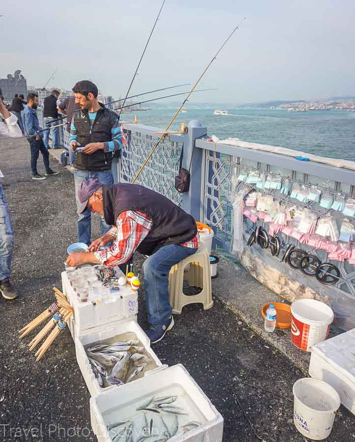 Popular fishing venue on the Galata bridge