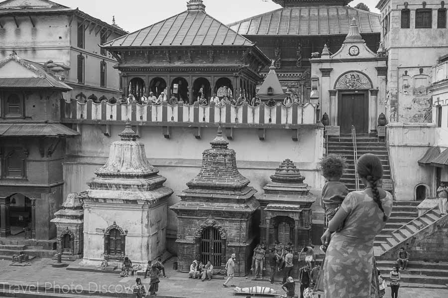 An ancient temple in Katmandu Nepal photography in black and white