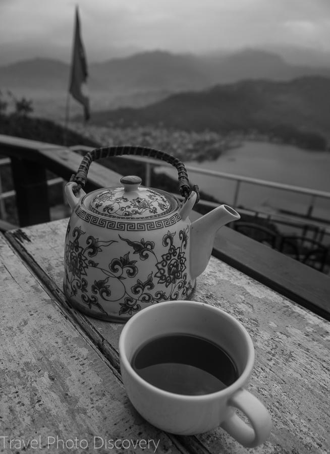 Enjoying tea while waiting for sunrise at the World Peace Pagoda above Pokhara