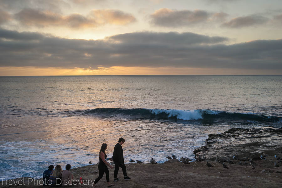 A sunset moment on the coast line in La Jolla