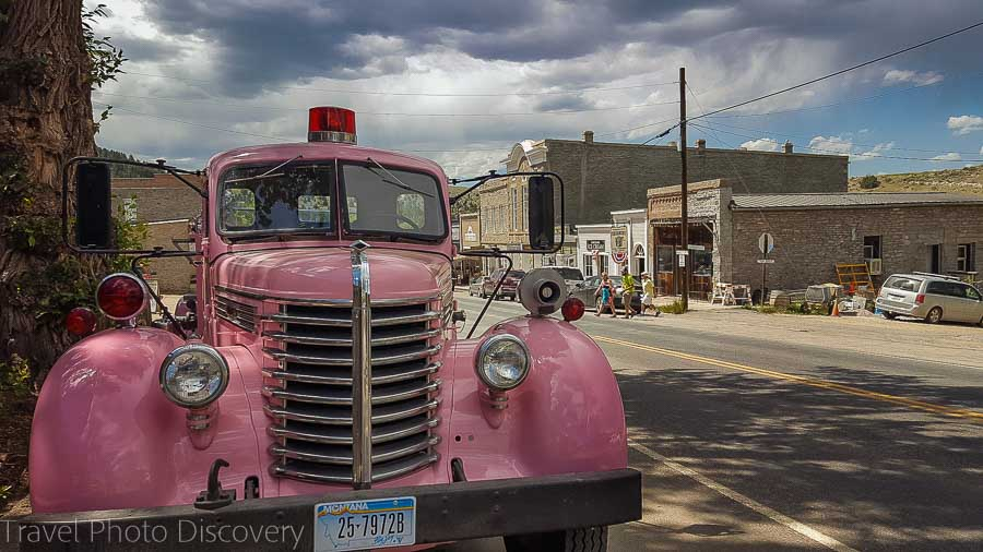A pink fire truck exploring Virginia City