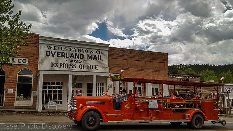 A firetruck converted to tour bus in Virginia City Montana