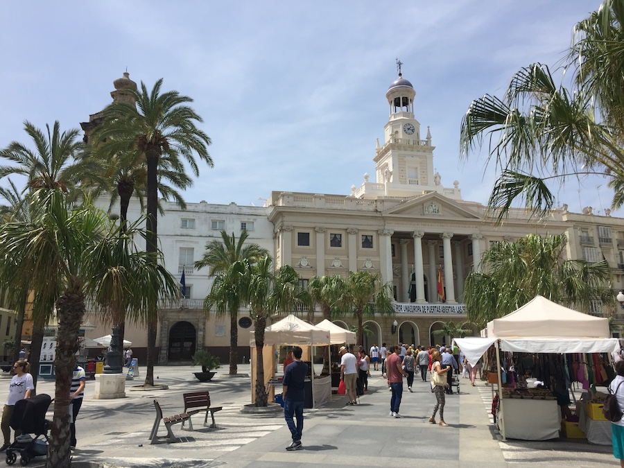 The town hall and popup markets at Cadiz Spain