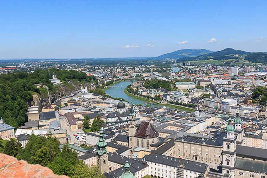 View of the town from top of Fortress Salzburg