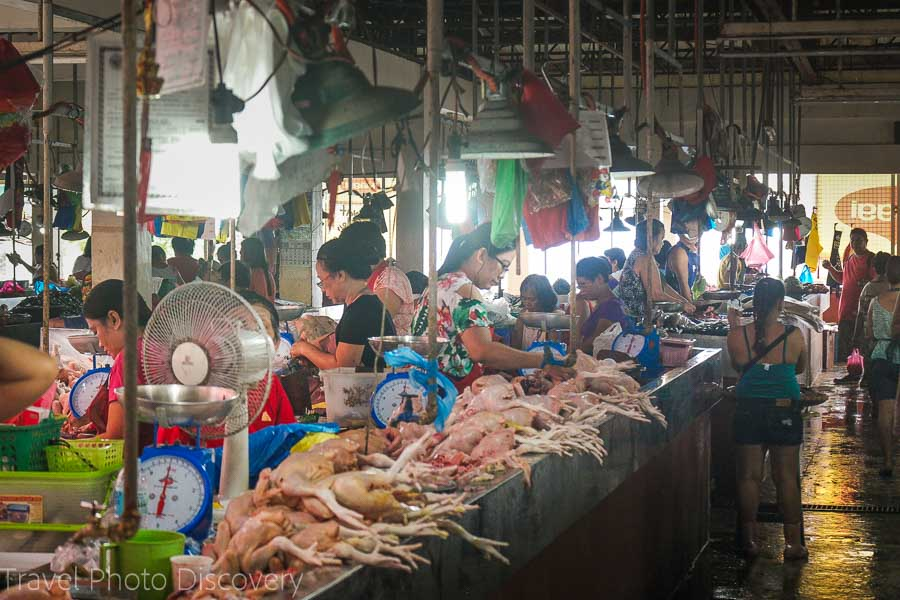 Meat and seafood stalls at Vigan market