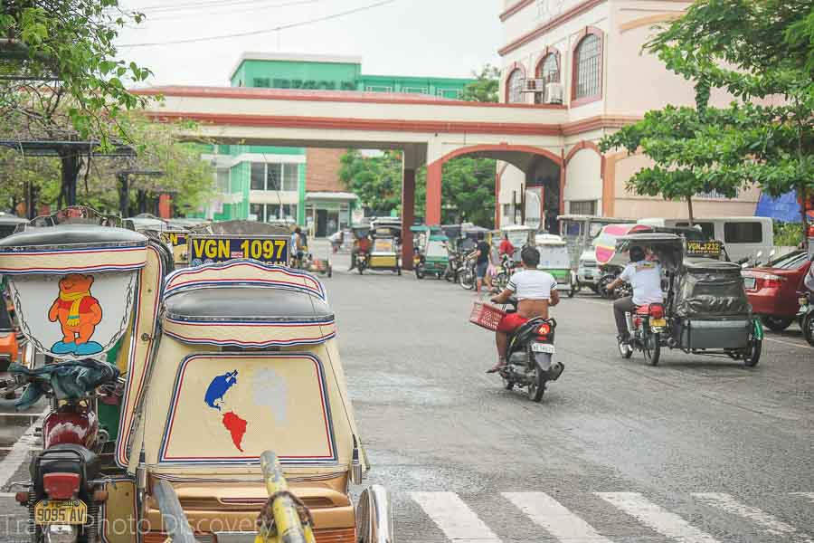 Tricycles at the public market in Vigan