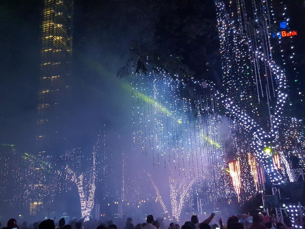 night light show at Ayala Triangle