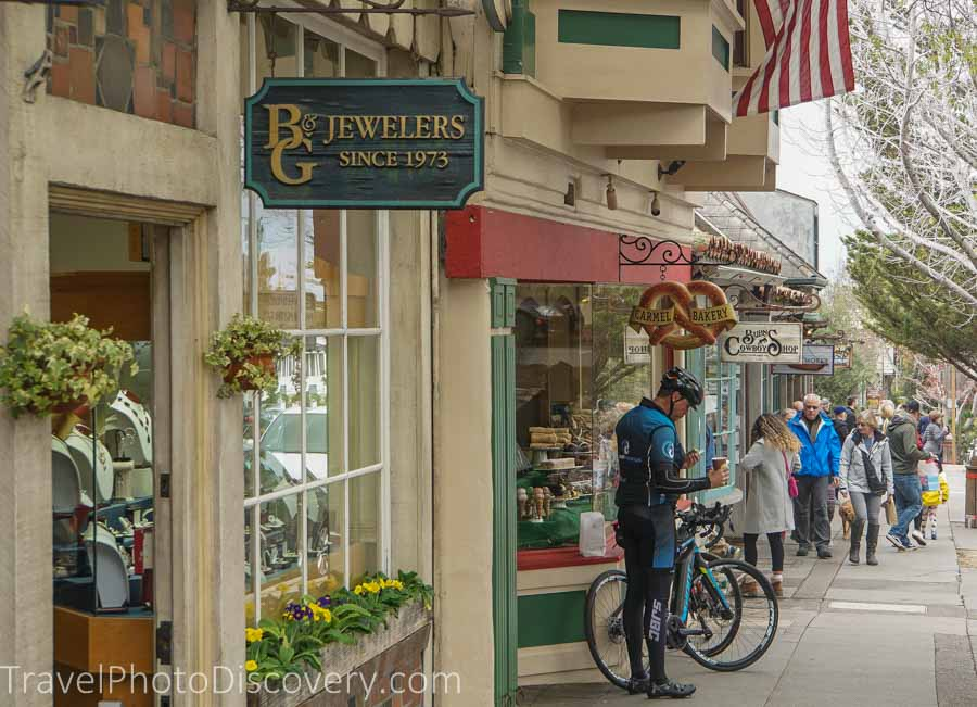 Carmel town shopping scene on Ocean Avenue