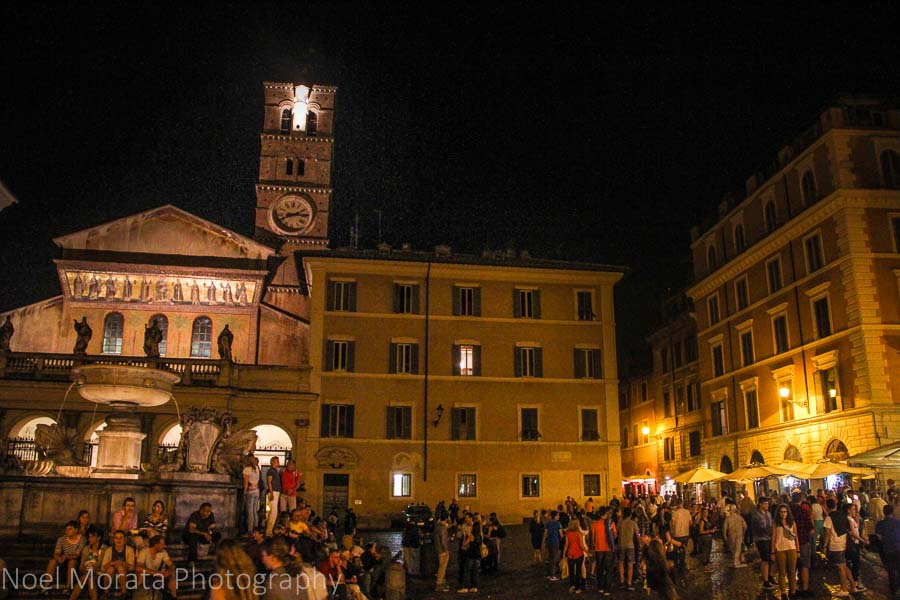 Trastevere main square and fountain at night time