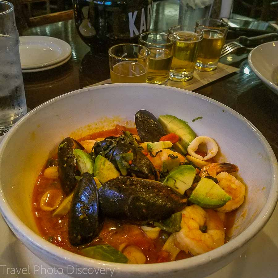 Delicious cioppino at Karl Strauss Brewing