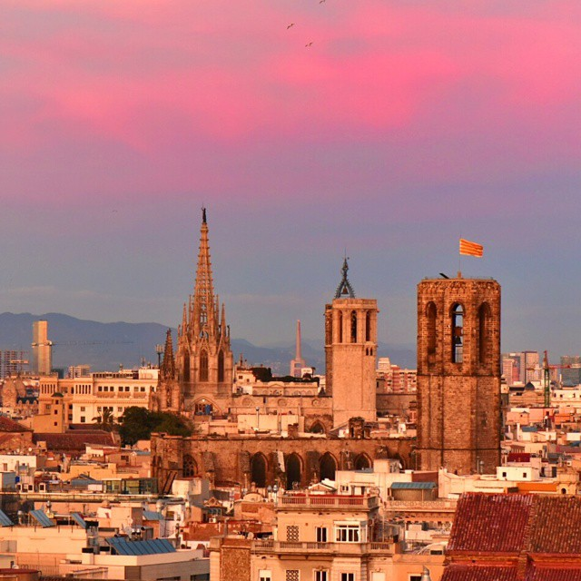 Barcelona at sunset and views