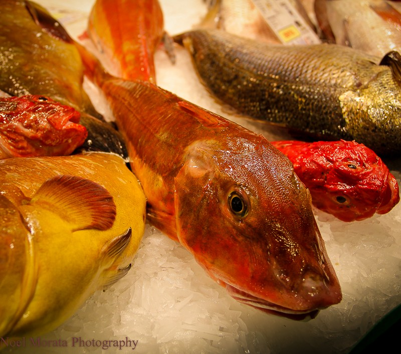 Fish vendor at the Boqueria market
