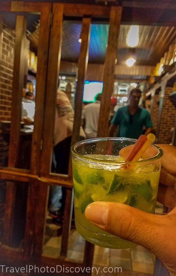 A classic mojito in a rum bar