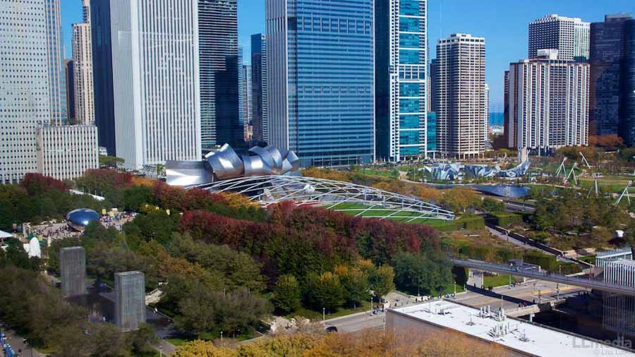 Outdoors in Chicago during fall season