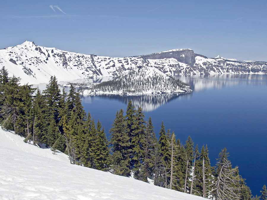 crater lake in winter time