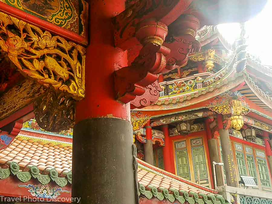ornate carving details at Longshan temple, Bangka district in Taipei
