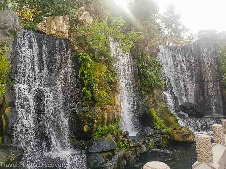 entry waterfall feature at Longshan temple, Bangka district in Taipei