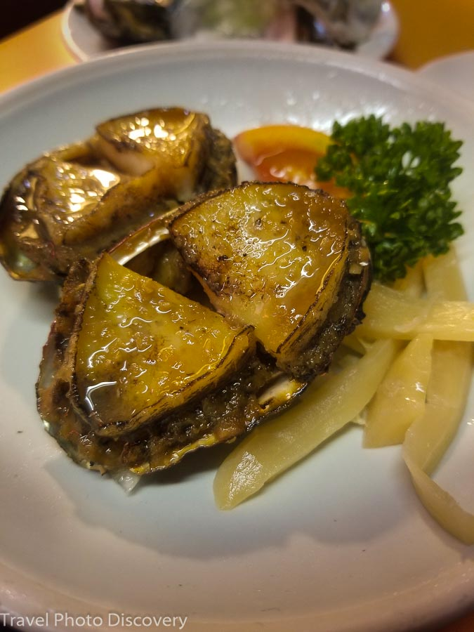 Grilled abalone at Raohe night market
