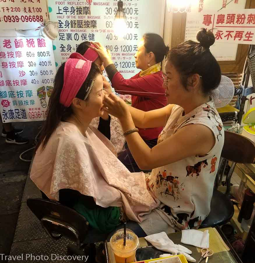 Raohe night market, asian facials