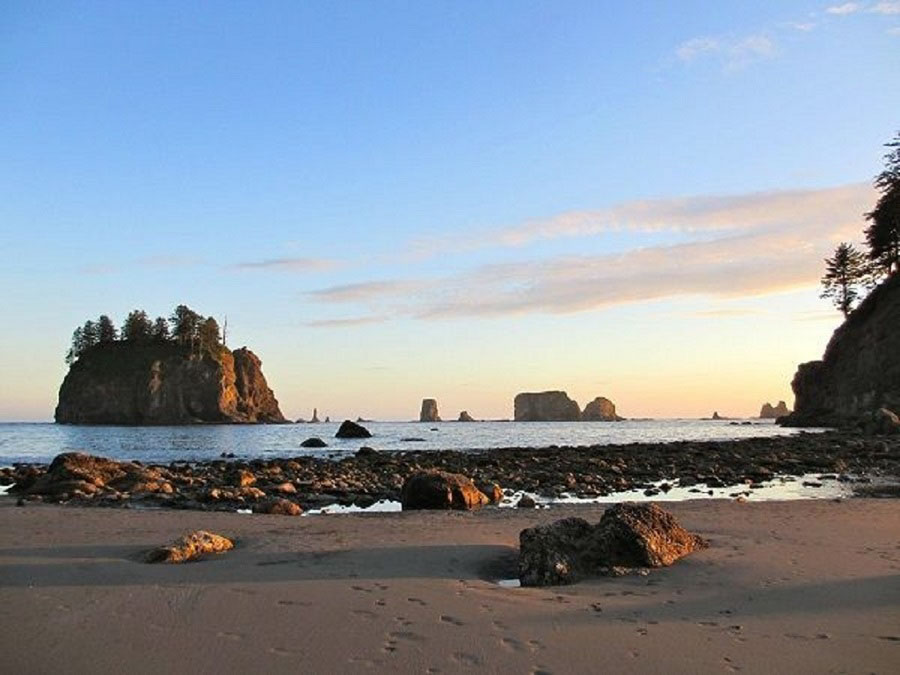 Sunset over the sea stacks at Second Beach, La Push, Washington