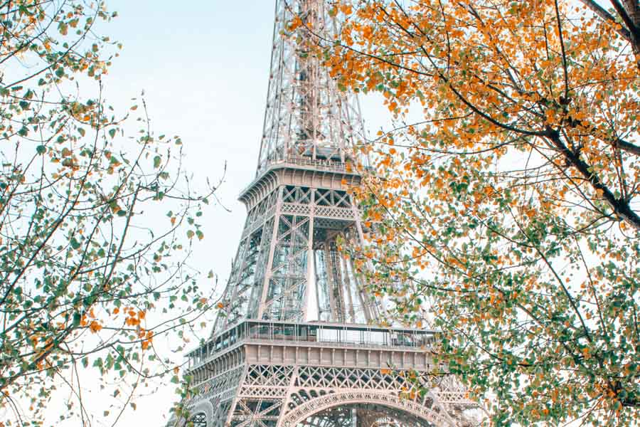 fall colors Eiffel Tower from Port Debilly in fall